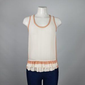 RW&Co Cream Ruffle Sheer Top Size S
